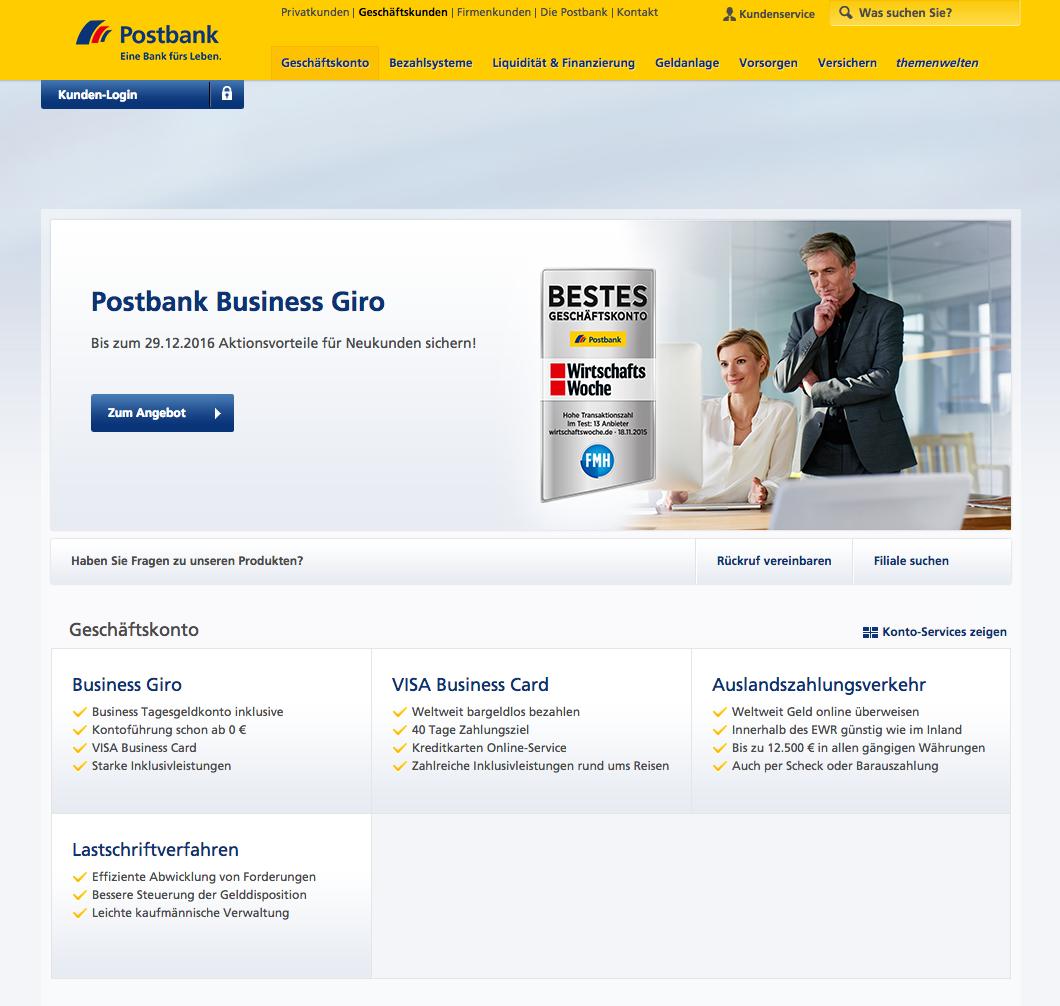 Postbank Geschäftskonto